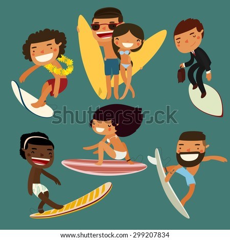surfing character set. cute surfers. vector illustration - stock vector