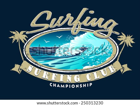 Surfing Club Championship with surfing wave . - stock vector