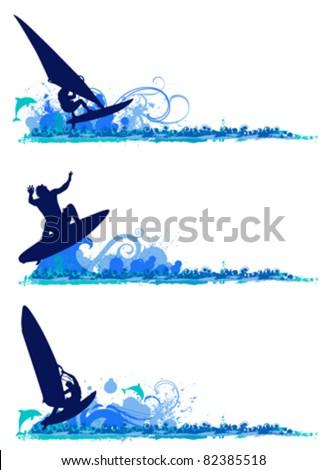 surfing design elements - stock vector