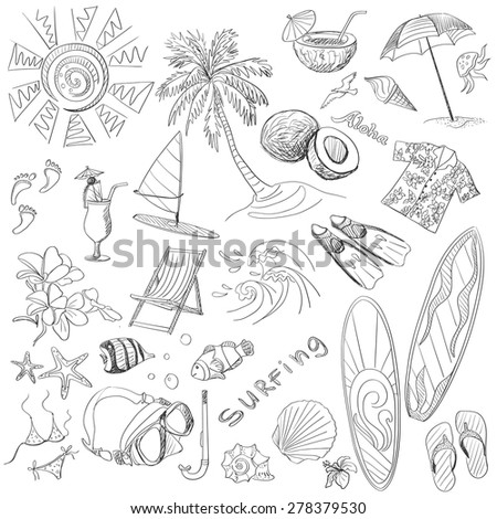 surfing hand draw doodles, various summer, excellent vector illustration, EPS 10 - stock vector