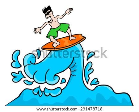 surfing illustration - stock vector