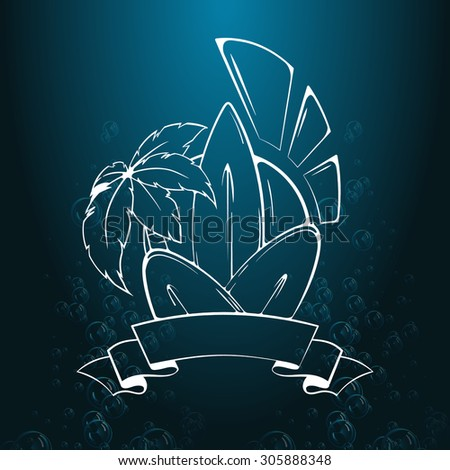 Surfing illustration and emblem. Stylized image of surf, palm trees, sun, ribbon in vintage style. Illustration for print or T-shirt. Design element, Logo. - stock vector