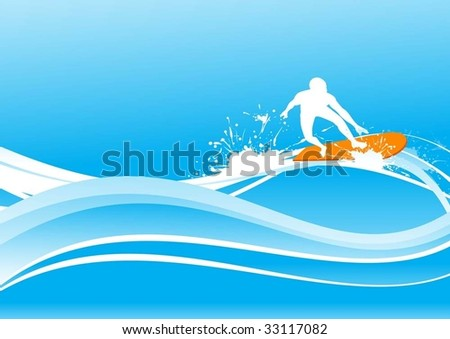 surfing on blue wave - stock vector