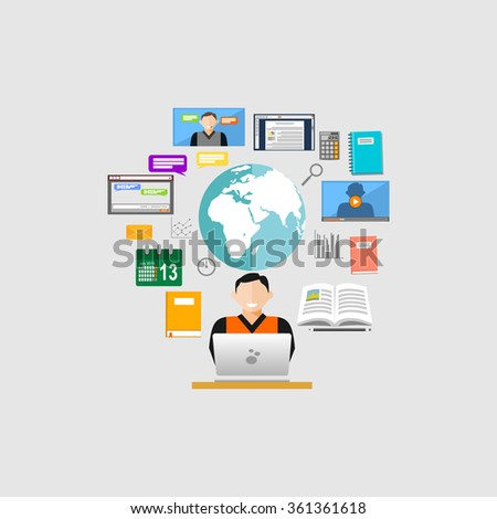 Surfing on internet. Internet contents concept illustration.  - stock vector