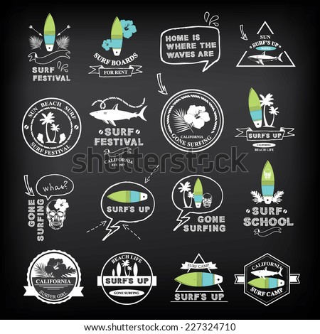 Surfing summer icons,vector labels collection. - stock vector