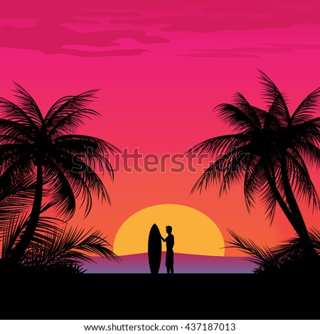 Surfing summer illustration with a surfer and board on beach at the sunset. Vector illustration.