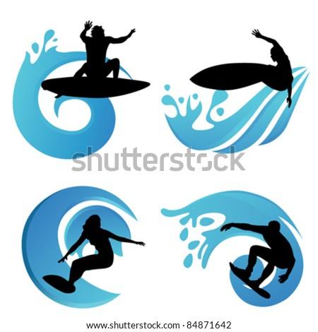 surfing symbols - stock vector