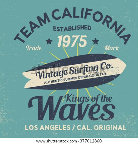 surfing tee print design with vintage effect - stock vector