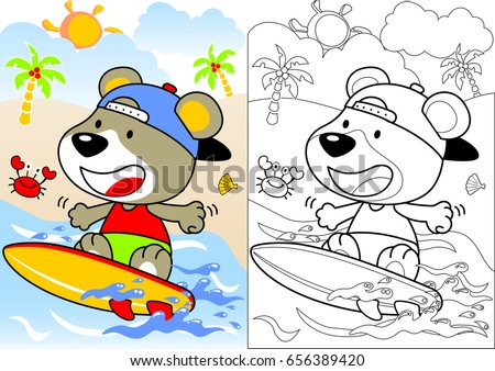 surfing time vector cartoon coloring book or page - Cartoon Pictures For Colouring
