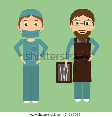 Surgeon and radiologist in flat design. Vector illustration of a smiling doctors - stock vector
