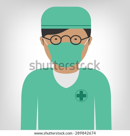 Surgeon doctor in medical clothes as icon - stock vector
