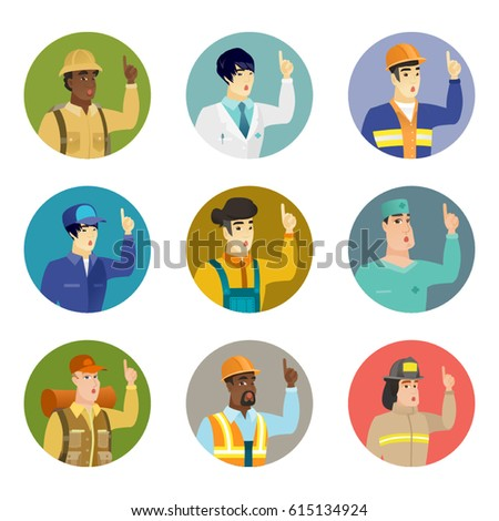 Surgeon pointing with his finger. Avatar of csucasian surgeon pointing finger up. Surgeon with finger pointing up. Set of vector flat design illustrations in the circle isolated on white background.