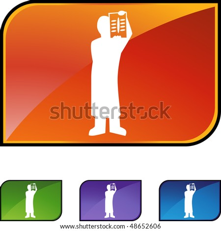 Surgeon x-ray web button isolated on a background