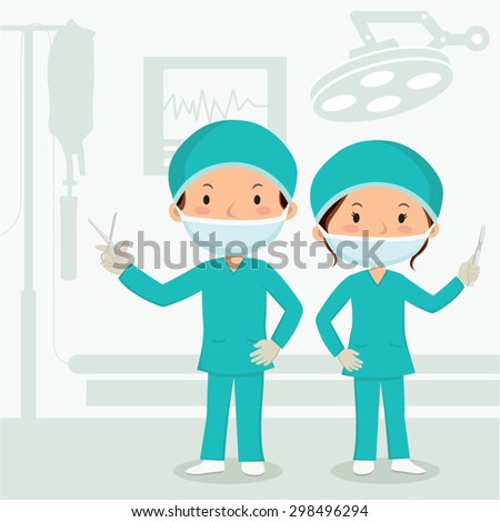 Surgeons in the operation theater. Surgeons dressed for the operating theater and holding surgical instruments. - stock vector