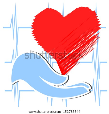 surgery hand with blue glove holding a heart, heart rhythm lines background. - stock vector
