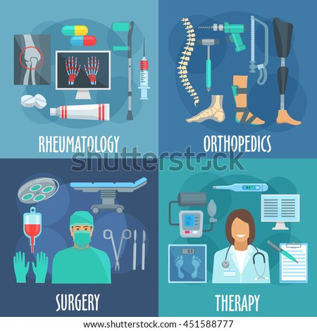 Surgery, therapy, orthopedic and rheumatology icons with doctors, operation table and surgery tools, checkup form, thermometer, x-ray, medicines and crutch, prosthetic leg, bandage, spine icons