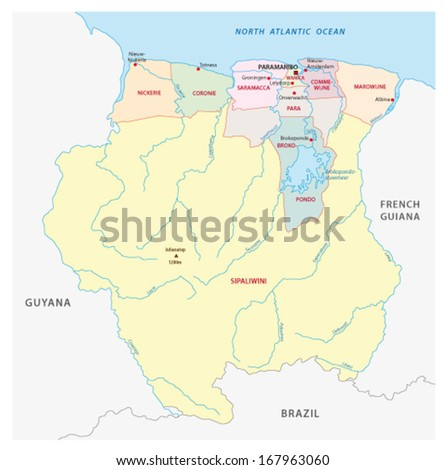 suriname administrative map