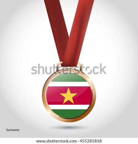 Suriname Flag in Bronze Medal. Vector Illustration - stock vector