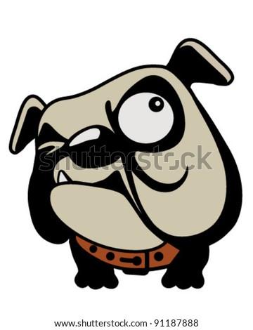 surly bulldog looks up - stock vector
