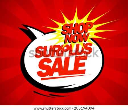 Surplus sale design in pop-art style. - stock vector