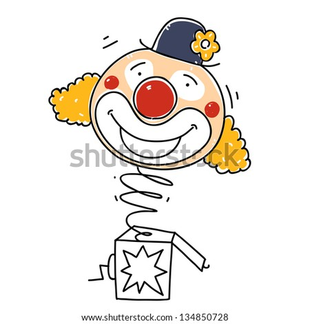 surprise box with a happy clown. cartoon illustration - stock vector