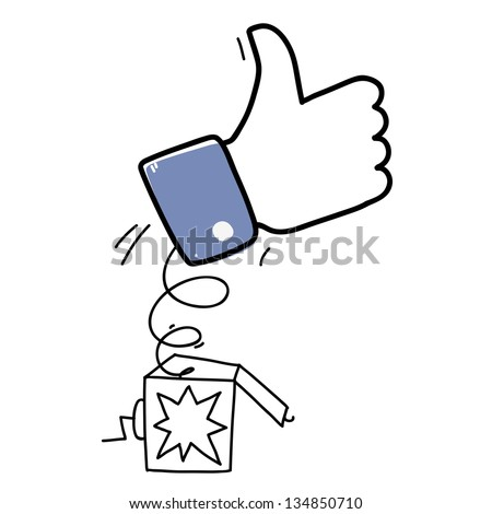 surprise box with like hand symbol. cartoon illustration - stock vector