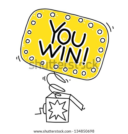 surprise box with You win sign. cartoon illustration - stock vector
