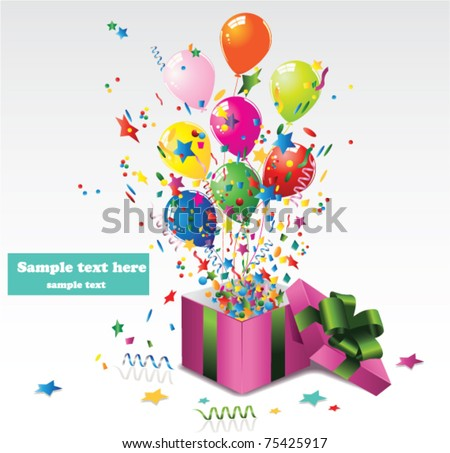 surprise gift box - stock vector