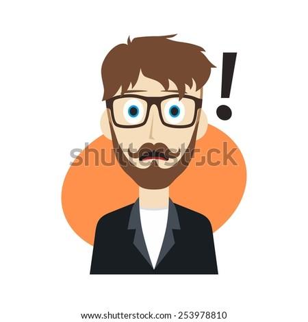 surprise guy cartoon - stock vector