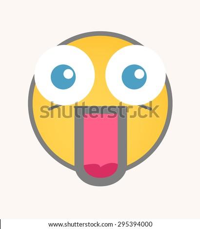 Surprised - Cartoon Smiley Vector Face - stock vector