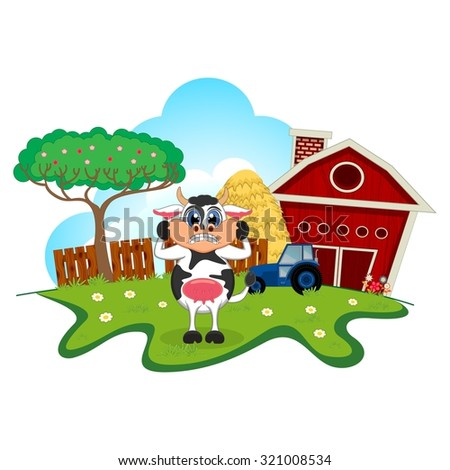 Surprised cow cartoon in a farm for your design - stock vector