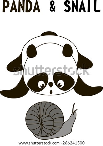 surprised cute little panda bear  and snail isolated on a white background, vector illustration - stock vector
