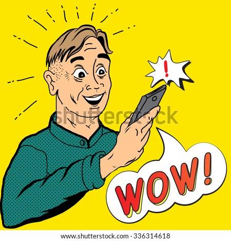 Surprised man holding mobile phone. Pop art retro comics style vector illustration.  - stock vector