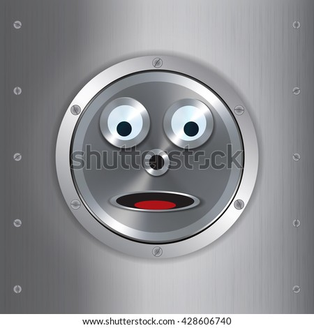 Surprised Metallic Robot Face Over Brushed Metallic Background with Screws - stock vector