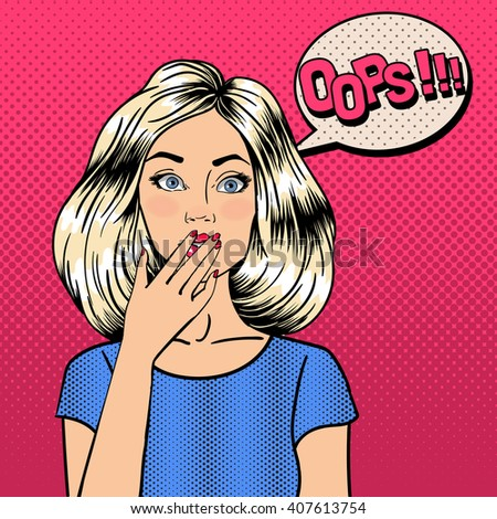 Surprised Woman. Comic Style. Pin Up Girl. Bubble Oops. Pop Art. Vector illustration - stock vector