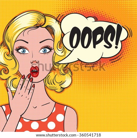 Surprised woman face with open mouth. OOPS bubble. Vector illustration - stock vector