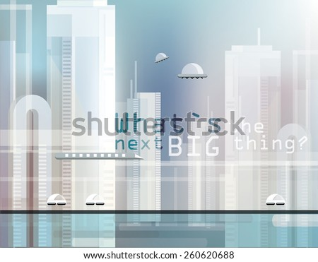 surreal abstract transparent futuristic cityscape background image with different types of transportation - stock vector