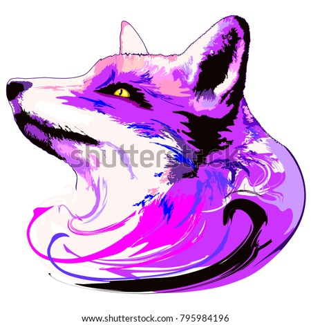 Surreal and Artistic Purple Fox Portrait, Poetic and Dreamy like an Animal Spirit