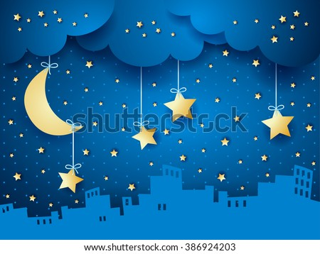 Surreal background with moon and skyline. Vector illustration