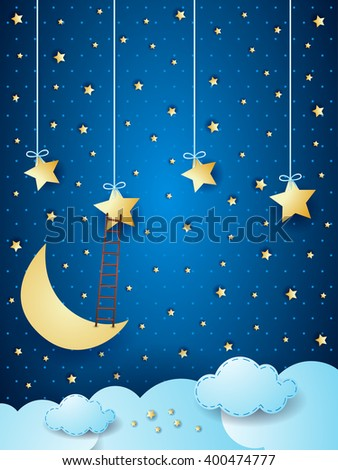 Surreal cloudscape with moon, stars and ladder. Vector illustration
