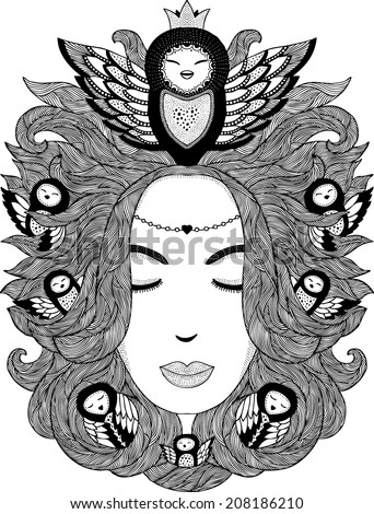 Surreal illustration of young sleeping woman with owls in her hair - stock vector