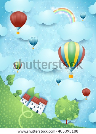 Surreal landscape with hot air balloons, vector illustration  - stock vector