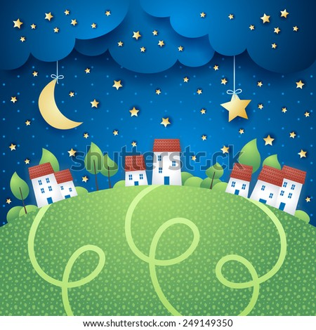 Surreal landscape with village, vector eps10 - stock vector