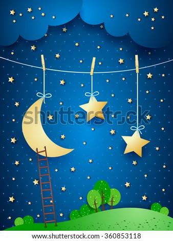 Surreal night, fantasy illustration. Vector  - stock vector