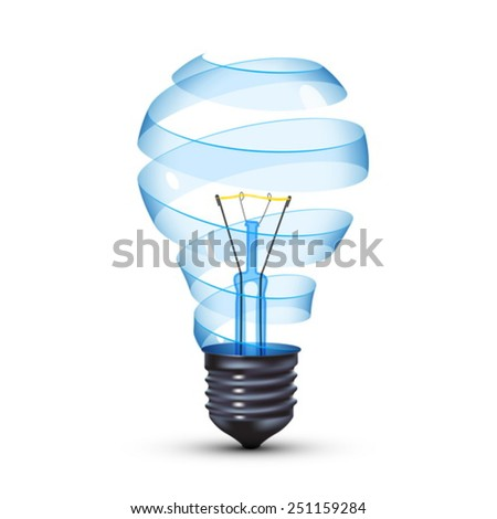 surreal spiral glass tungsten light bulb - stock vector