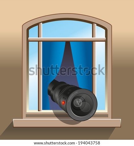 Surveillance - An agent, a spy or a voyeur is secretly observing with a camera out of a window. Vector illustration on grey gradient background. - stock vector