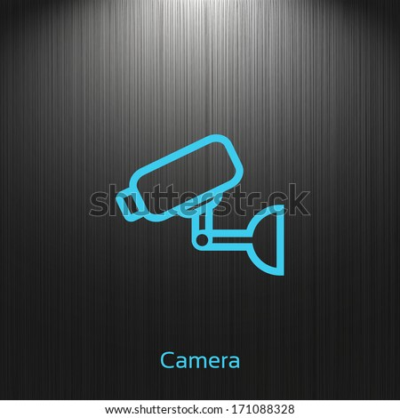 Surveillance Camera icon on a dark background for your design - stock vector
