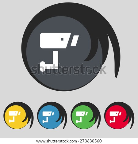 Surveillance Camera icon sign. Symbol on five colored buttons. Vector illustration - stock vector
