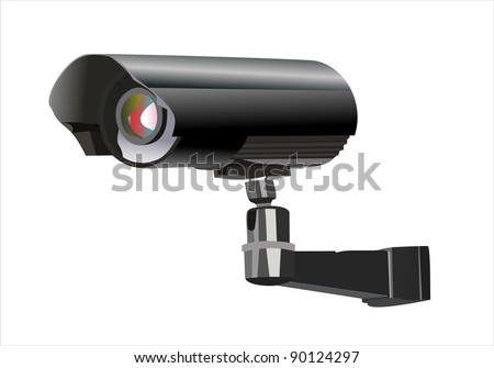 Surveillance camera viewed from the side, isolated on a white background.