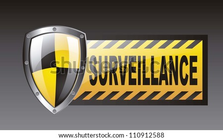 surveillance with protection shield over black background. vector - stock vector